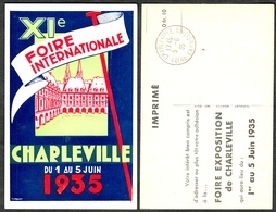 "CHARLEVILLE 1935  ( Ardennes ) "" XIe Foire International 1-5 Juin 1935 "" Carte Artisan Floquet - Charleville"