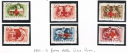 UNGHERIA (HUNGARY) - SG 1478.1483  - 1957 RED CROSS FUND (COMPLET SET OF 6 STAMPS OF 1955 OVERPRINTED) - USED° - RIF.CP - Usati