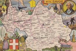 73. SAVOIE. CPSM . CARTE GÉOGRAPHIQUE ILLUSTRÉE DU DÉPARTEMENT DE  SAVOIE - France