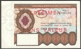 Cheque Postal De Voyage ( Reisescheck Traveller Check ) France 500 Fr Specimen - Specimen