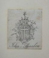 Ex-libris Héraldique Illustré XVIIIème - JOHN THURLON - Ex-libris
