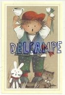 Petit Garçon, Tulipes, Coupe, Chat Et Lapin. Signée Jaklien - Kinder