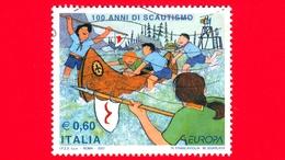 ITALIA - Usato - 2007 - Europa - 100 Anni Di Scoutismo - Scout Attorno Ad Una Canoa E Alzabandiera - 0.60 - 6. 1946-.. Repubblica