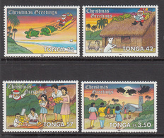 1991 Tonga Christmas Noel Turtles Complete Set Of 4 MNH - Tonga (1970-...)