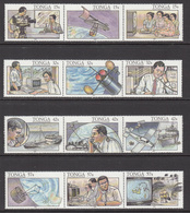 1991 Tonga Telecommunications Television Emergency Hurricanes Complete Set Of 4 Strips Of 3 MNH - Tonga (1970-...)