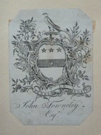 Ex-libris Héraldique Illustré XVIIIème - JOHN TOWNELEY - Ex-libris