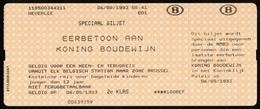 Speciaal Treinticket NMBS / ROYALTY / Overlijden Koning Boudewijn / Roi Baudouin / Koningshuis / Famille Royale - Chemin De Fer