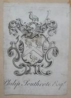 Ex-libris Héraldique Illustré XVIIIème - PHILIP SOUTHCOTE - Ex-libris