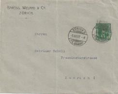 """Schweiz / 1908 / Privat-Ganzsachenumschlag """"Tellknabe-Bareiss, Wieland Zuerich"""", Stegstempel Zuerich (5703) - Interi Postali"""