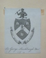 Ex-libris Héraldique Illustré XVIIIème - SIR GEORGE SHUCKBURGH BARt - Ex-libris