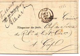Lettre Au Départ De GAP Du 7 Novembre 1883 Adressée A L'inspecteur Des Forets Voir Les 2 Scans - 1877-1920: Periodo Semi Moderno