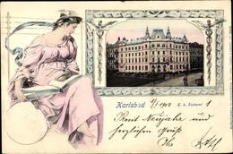 Passepartout Cp Karlovy Vary Karlsbad Stadt, K. K. Postamt - Repubblica Ceca
