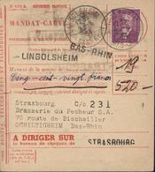 YT 292 Paul Doumer Seul Sur Lettre Sur Mandat Carte CAD Lingolsheim 2 6 34 CCP Strasbourg - Postmark Collection (Covers)