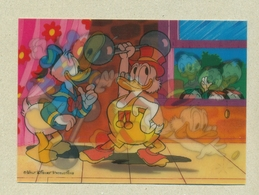 WALT DISNEY Carte En Relief 3D Lenticulaire Lenticular Donald Duck Canard Balthazar Picsou Riri Fifi Loulou Haltère TB.E - Altre Illustrazioni