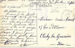 78-cachet Hôpital Militaire Des Troupes Africaines VR71 à Carrières-sous-Bois En 1916 - Guerre De 1914-18