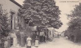36. LOURDOUEIX ST MICHEL. CPA.. RARETÉ. ANIMATION. LA GRANDE RUE - France