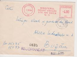 MINISTRY OF LIGHT INDUSTRY RED MACHINE STAMPS AMOUNT 4 LEI BUCURESTI ROMANIA - Marcofilia - EMA ( Maquina De Huellas A Franquear)
