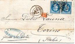 Lettre Au Départ De Marseille Pour Torino En Date Du 6 Sept 1870  (avec Une Paire De Timbre N° 29 ) - 1849-1876: Periodo Classico