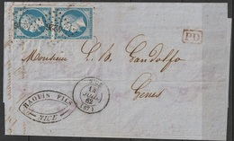 France 14b Lettre Napoléon En Paire GC 4226 Nice Cachet PD - Postmark Collection (Covers)