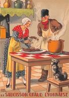 Illustrateur Jean PARIS - M. Barré & J. Dayez - Recette -  Le Saucisson Chaud Lyonnaise -  N° 1418 T - Andere Illustrators