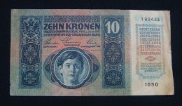 AUSTRIA 10 KRONEN 1915 PICK-19. VF. SERIAL# 199433 1050 - Austria