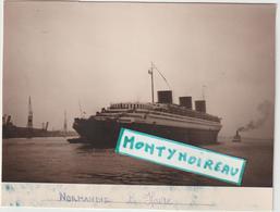 """R  :vieux  Papier :bateau """" Le  Normandie """"  , Le  Havre  ( 17 Par 12 Cm  Environ, Découpé  Je  Pense  Pourtour) - Alte Papiere"""