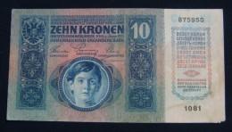 AUSTRIA 10 KRONEN 1915 PICK-19. AUNC SMALL PART MISSING. SERIAL# 875950 1081 - Oesterreich