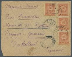 "Georgien: 1919, ""1 Rbl. Orange-brown"", Four Values As Multiple Franking On Letter From TIFLIS 5 -6.1 - Georgien"