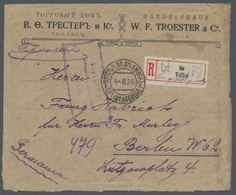 """Georgien: 1920, """"3 Rbl. Ultramarin"""", Block Of Four At The Back As Postage-rich Multiple Franking By - Georgien"""