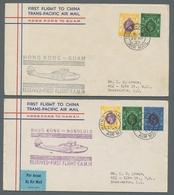 Hongkong: 1936-1937, Vier Belege Von Erstflügen Von Hongkong Nach London, Manila, Guam Und Honolulu. - Hong Kong (...-1997)
