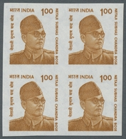 Indien: 2000-2002, Zehn Verschiedene Freimarkenausgaben, Jeweils Ungezähnt Im Viererblock Auf Wasser - India (...-1947)