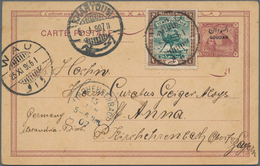 Sudan - Ganzsachen: 1897/1906, 3 M Brown-violet Postal Stationery Card, Uprated With 2 M Green/brown - Sudan (1954-...)