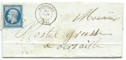 N° 14 NAPOLEON BLEU SUR LETTRE / REMALARD POUR VERSAILLES / 20 NOV 1855 - 1849-1876: Klassik