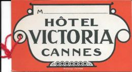 Authentique étiquette Pour Valise Cartonnée De L'Hotel Victoria De Cannes Robaudy En Parfait état - Werbung