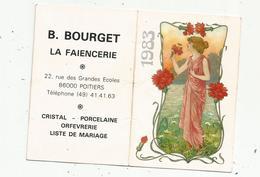 Calendrier ,petit Format ,1983 , L'ODORAT , B. BOURGET ,LA FAIENCERIE ,Poitiers, 2 Scans - Kleinformat : 1981-90