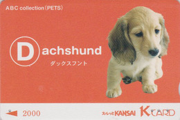 Rare Carte Prépayée Japon  - Série ALPHABET ABC PETS - ANIMAL - CHIEN TECKEL - DACHSHUND DOG Japan Prepaid K Card - D - Hunde