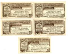 1895 // BORDEAUX // RESTAURANT DU LOUVRE // Avec Pub Au Verso // 5 Bons Prime - Bonos
