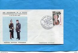 -enveloppe  -photo Uniforme -1920-1980-160°anniv Sté Philarmonique-STEENVOORDE-* Cachet  1980 - Marcophilie (Lettres)