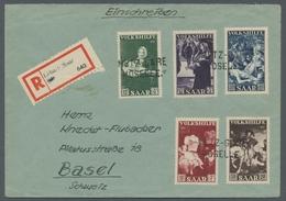 """Saarland (1947/56): 1951, """"Volkshilfe"""" Komplett Auf R-Brief Mit Sehr Seltener Entwertung Durch Den G - 1947-56 Allierte Besetzung"""