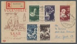 """Saarland (1947/56): 1951, """"Volkshilfe"""" Mit ESST Auf Schmuck-FDC Nach New York In Guter Erhaltung, Ge - 1947-56 Allierte Besetzung"""