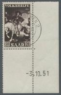"""Saarland (1947/56): 1951, """"Volkshilfe Mit Druckdatum"""", Kompletter Eckrandsatz Mit Klarem SAARBRÜCKEN - 1947-56 Allierte Besetzung"""