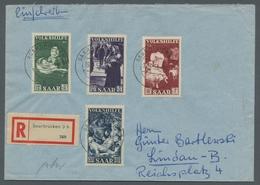 """Saarland (1947/56): 1951, """"12 Bis 30 Fr. Volkshilfe"""" Als Portorichtige MiF Auf R-Brief Von SAARBRÜCK - 1947-56 Allierte Besetzung"""