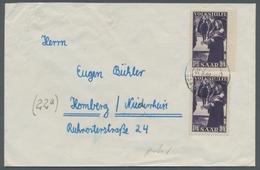 """Saarland (1947/56): 1951, """"15 Fr. Volkshilfe"""", Zwei Werte Als Portorichtige MeF Auf Fernbrief, Oben - 1947-56 Allierte Besetzung"""