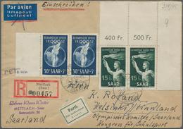 """Saarland (1947/56): 1952, Brief An Das """"Olympische Komitée Saarland"""" In Helsinki (frankiert Mit Waag - 1947-56 Allierte Besetzung"""