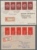 """Saarland (1947/56): 1952, """"Saarmesse Und Rotes Kreuz"""", Je Fünferstreifen Als Portorichtige MeF Auf Z - 1947-56 Allierte Besetzung"""