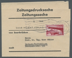 """Saarland (1947/56): 1952, """"3 Fr. Saar V"""" Als Portorichtige EF Auf Streifband Von Saarbrücken Nach Br - 1947-56 Allierte Besetzung"""