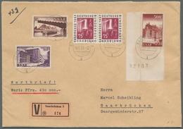 """Saarland (1947/56): 1953, """"500 Fr. Ludwigskirche Mit Maschinennummer"""", Bogenecke Mit Zusatzfrankatur - 1947-56 Allierte Besetzung"""