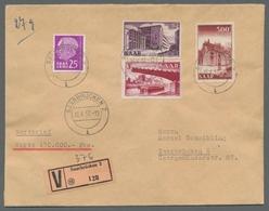 """Saarland (1947/56): 1952, """"500 Fr. Saar V"""" Mit Zusatzfrankatur Als Portorichtige MiF Auf Orts-Wertbr - 1947-56 Allierte Besetzung"""