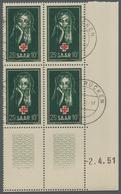 """Saarland (1947/56): 1951, """"Rotes Kreuz Mit Druckdatum"""", Eckrandviererblock Mit Zusätzlich Zweimal Du - 1947-56 Allierte Besetzung"""