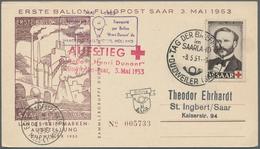 """Saarland (1947/56): 1953, """"Henri Dunant"""", Sieben Ersttagskarten, Alle Per Ballonpost Befördert, Deko - 1947-56 Allierte Besetzung"""
